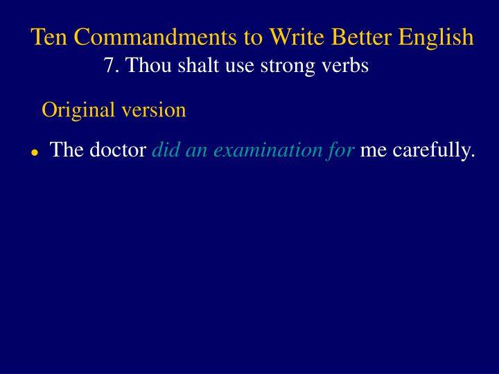 Ten Commandments to Write Better English