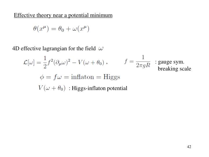 Effective theory near a potential minimum