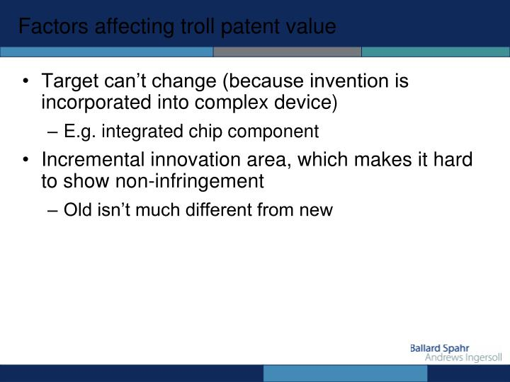 Factors affecting troll patent value