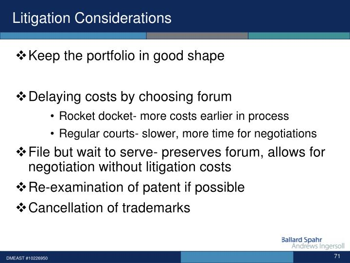 Litigation Considerations