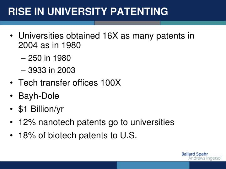 RISE IN UNIVERSITY PATENTING