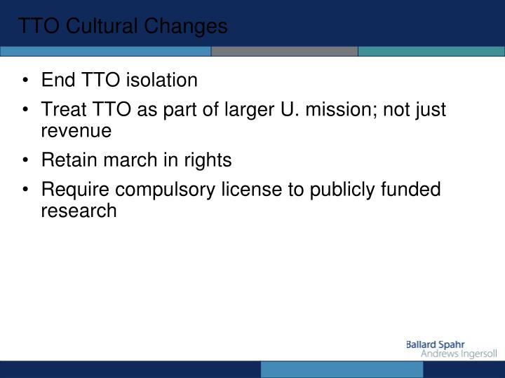 TTO Cultural Changes