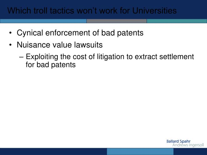Which troll tactics won't work for Universities