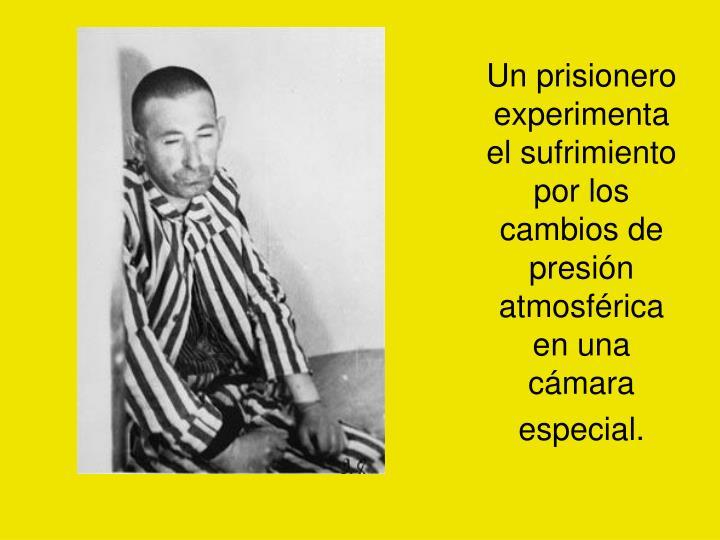 Un prisionero experimenta el sufrimiento por los cambios de presión atmosférica en una cámara especial.
