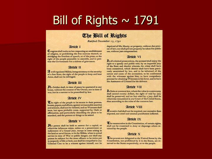 Bill of rights 1791