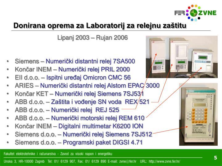 Donirana oprema za Laboratorij za relejnu zaštitu