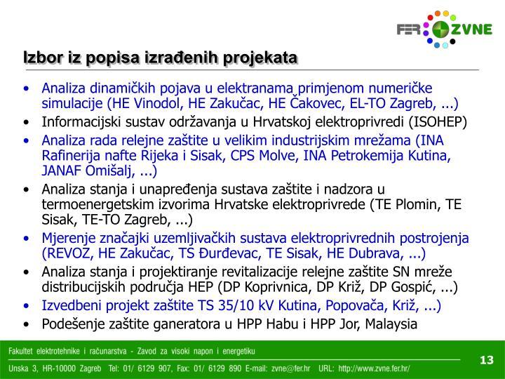 Izbor iz popisa izrađenih projekata
