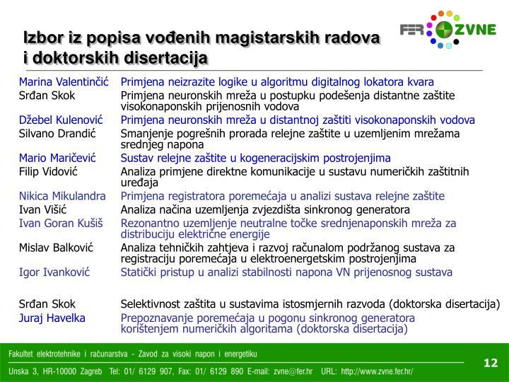 Izbor iz popisa vođenih magistarskih radova i doktorskih disertacija