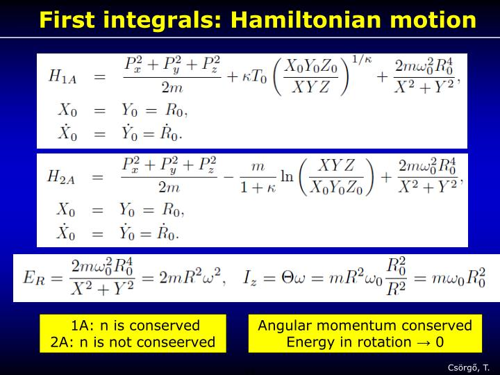 First integrals: Hamiltonian motion