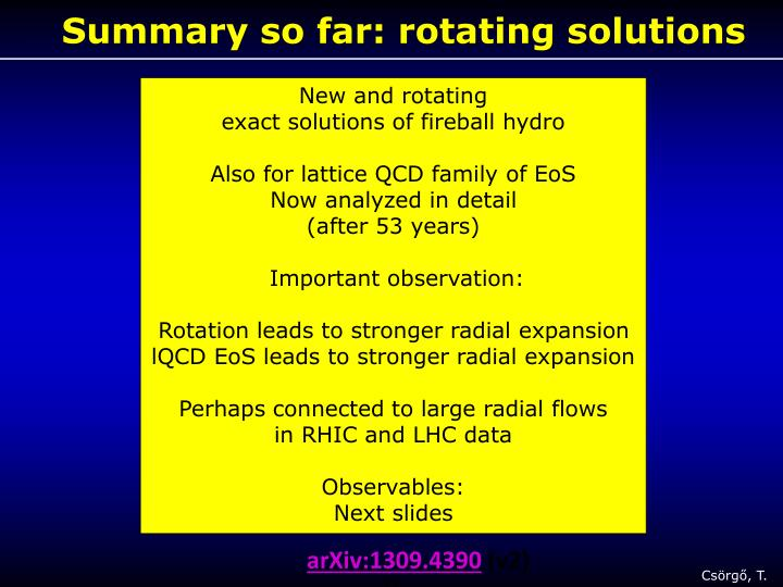Summary so far: rotating solutions