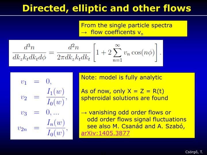 Directed, elliptic and other flows