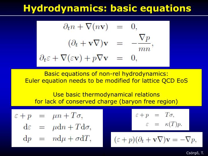 Hydrodynamics: basic equations
