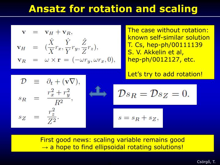Ansatz for rotation and scaling