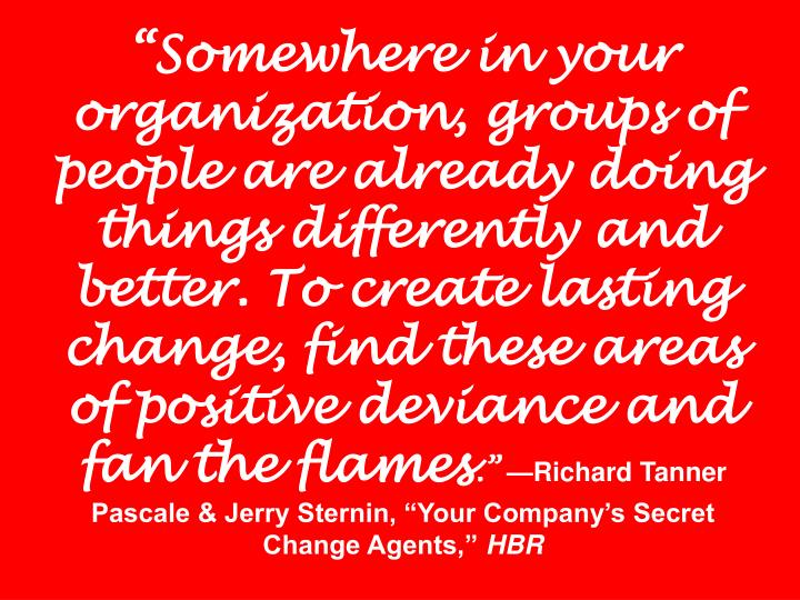 """Somewhere in your organization, groups of people are already doing things differently and better. To create lasting change, find these areas of positive deviance and fan the flames"