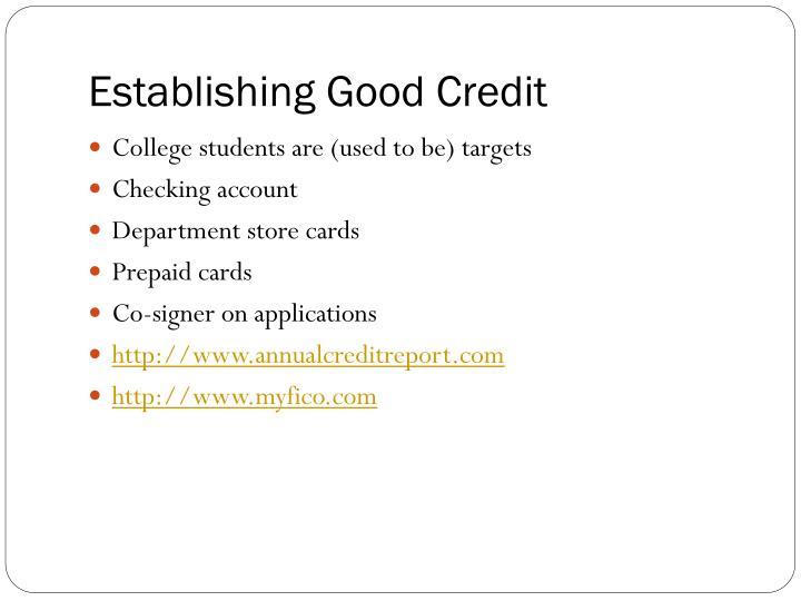 Establishing Good Credit