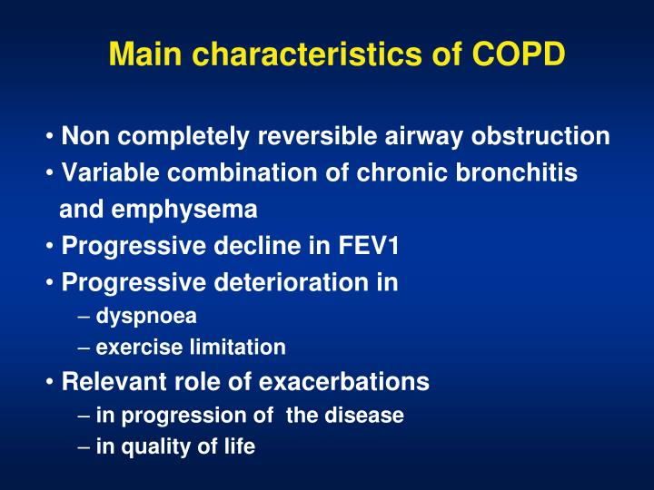 Main characteristics of COPD