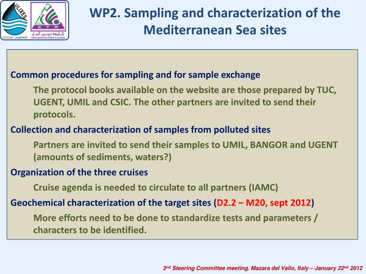 WP2. Sampling and characterization of the Mediterranean Sea sites