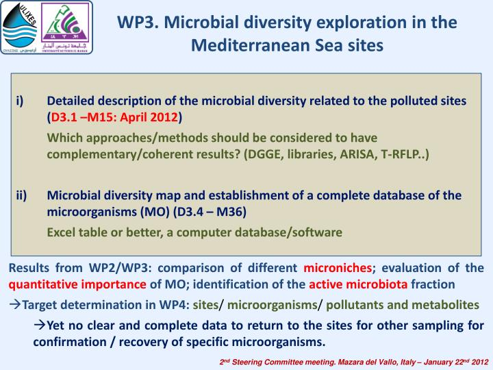 WP3. Microbial diversity exploration in the Mediterranean Sea sites