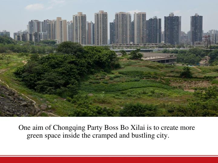 One aim of Chongqing Party Boss Bo Xilai is to create more green space inside the cramped and bustling city.