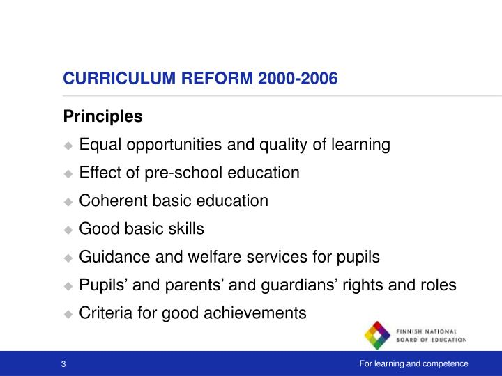Curriculum reform 2 000 2006