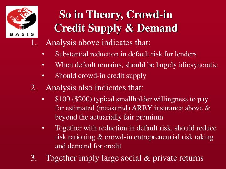 So in Theory, Crowd-in Credit Supply & Demand