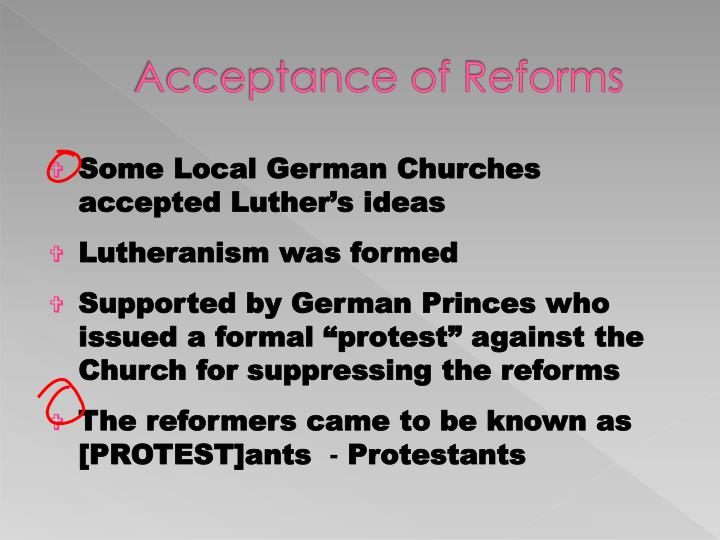 Acceptance of Reforms