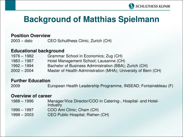 Background of Matthias Spielmann