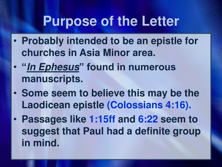 Purpose of the Letter