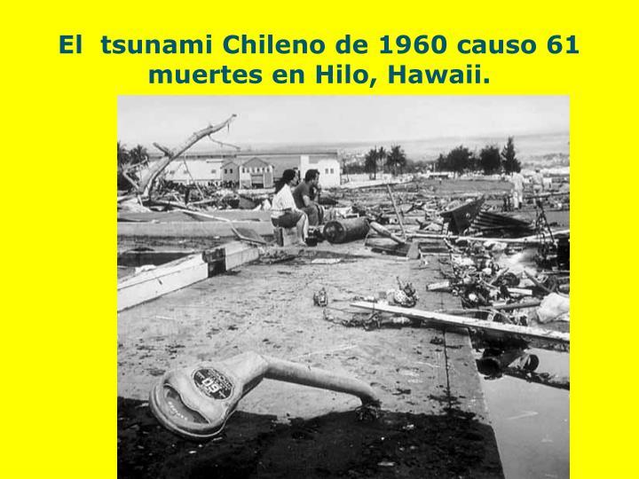 El  tsunami Chileno de 1960 causo 61 muertes en Hilo, Hawaii.
