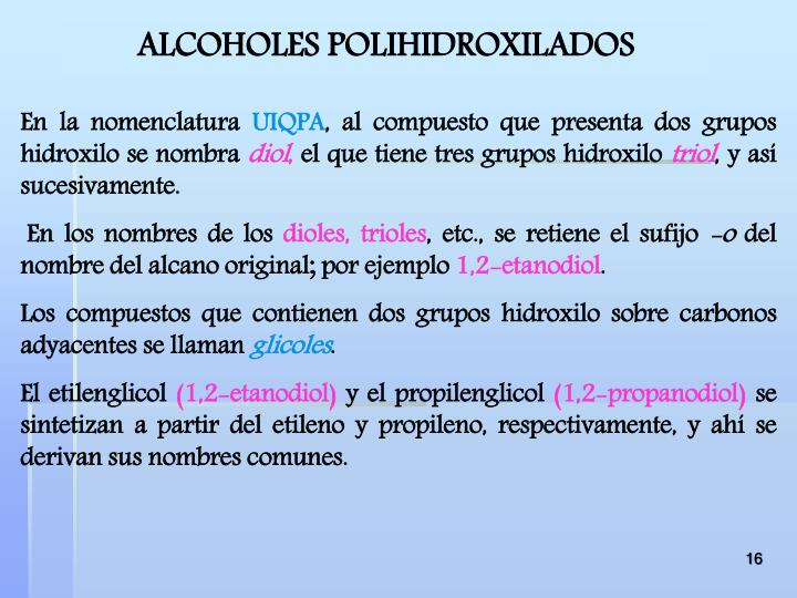 ALCOHOLES POLIHIDROXILADOS