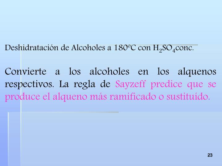 Deshidratación de Alcoholes a 180ºC con H