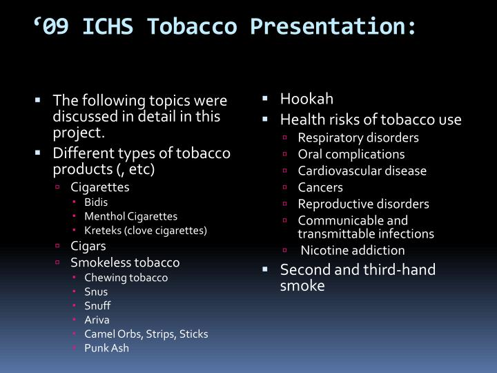 '09 ICHS Tobacco Presentation: