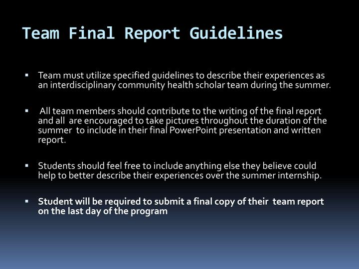 Team Final Report Guidelines