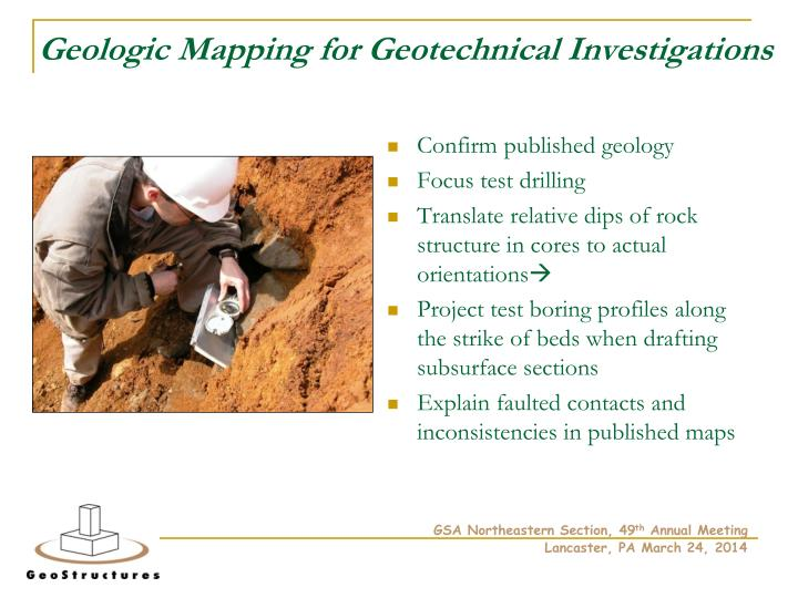Geologic mapping for geotechnical investigations