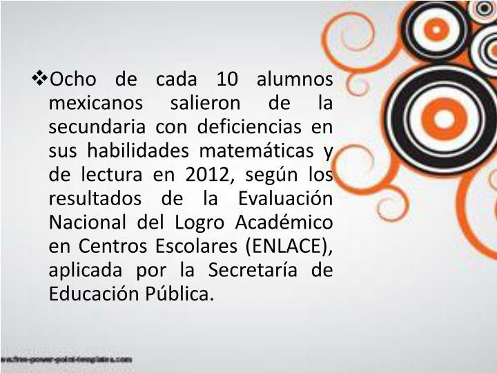 Ocho de cada 10 alumnos mexicanos salieron de la secundaria con deficiencias en sus habilidades matemáticas y de lectura en 2012, según los resultados de la Evaluación Nacional del Logro Académico en Centros Escolares