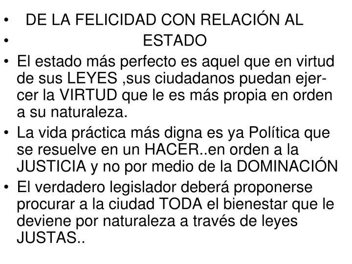 DE LA FELICIDAD CON RELACIÓN AL