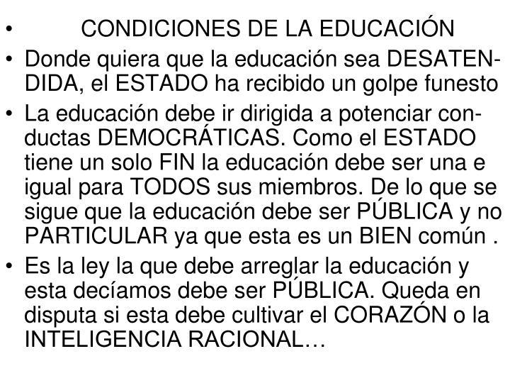 CONDICIONES DE LA EDUCACIÓN