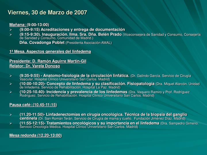 Viernes, 30 de Marzo de 2007