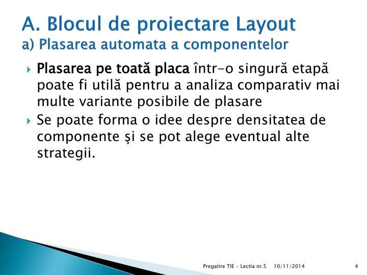 A. Blocul de proiectare Layout