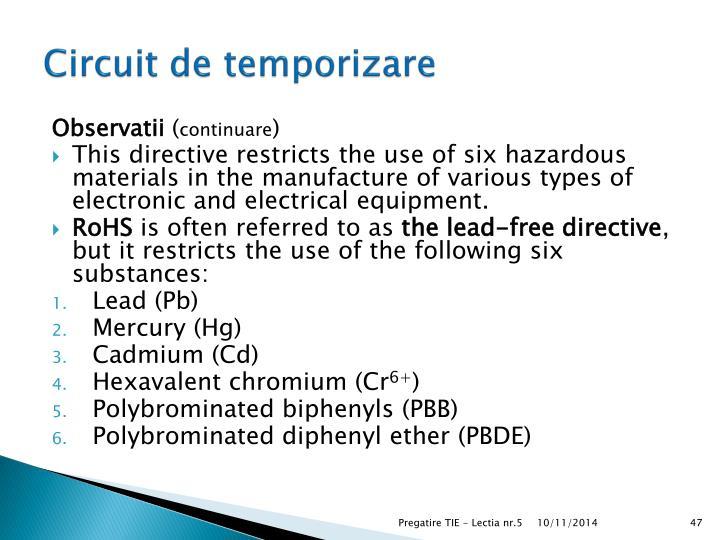 Circuit de temporizare