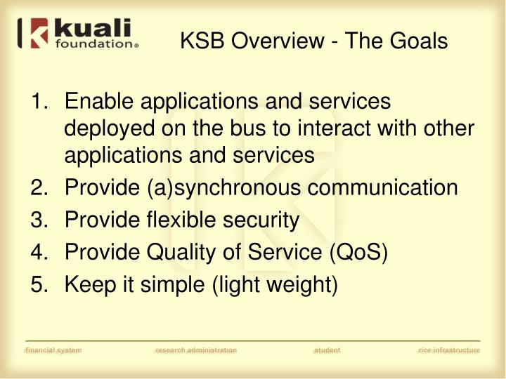 KSB Overview - The Goals