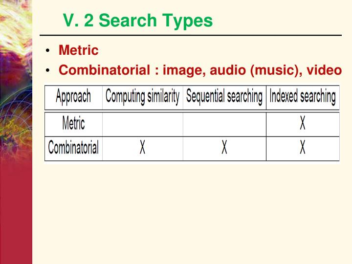 V. 2 Search Types