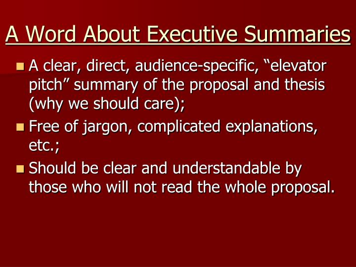 A Word About Executive Summaries