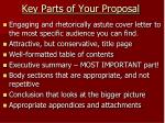 key parts of y our proposal