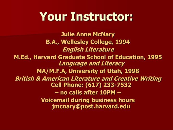 Your Instructor: