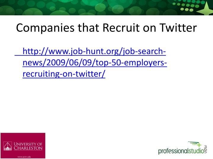 Companies that Recruit on Twitter