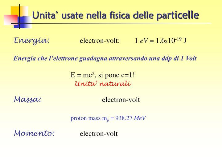 Unita' usate nella fisica delle pa