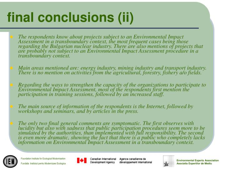 final conclusions (ii)