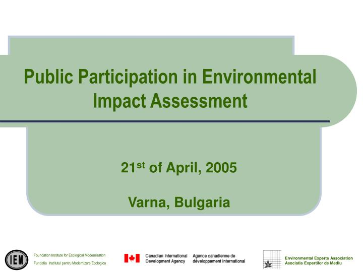 Public participation in environmental impact assessment