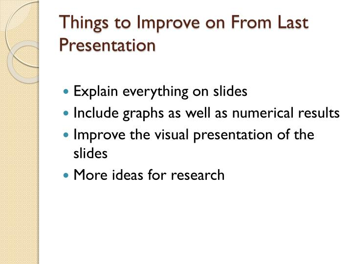 Things to improve on from last presentation